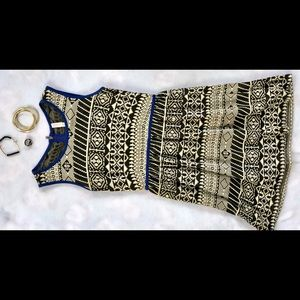 Blue/Black/Cream Print Dress
